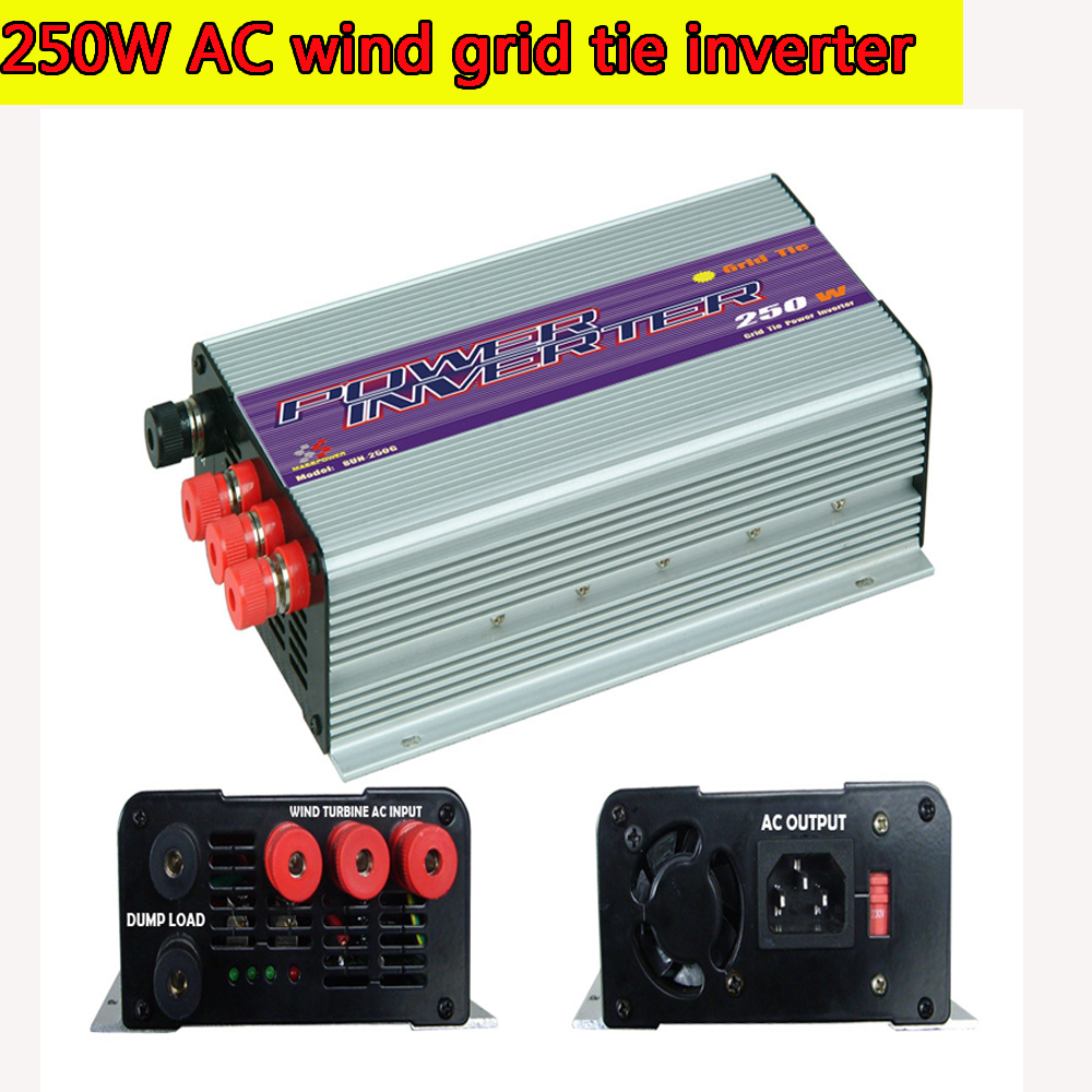 250W Grid Tie Power Inverter for 3 Phase AC Output Wind Turbine MPPT Pure Sine Wave Inverter with Built-in Dump Load Controller