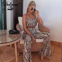 Dulzura snake print sleeveless crop tank top high waist flare pants bell bottom trousers 2019 sexy women clothes 2 pieces set