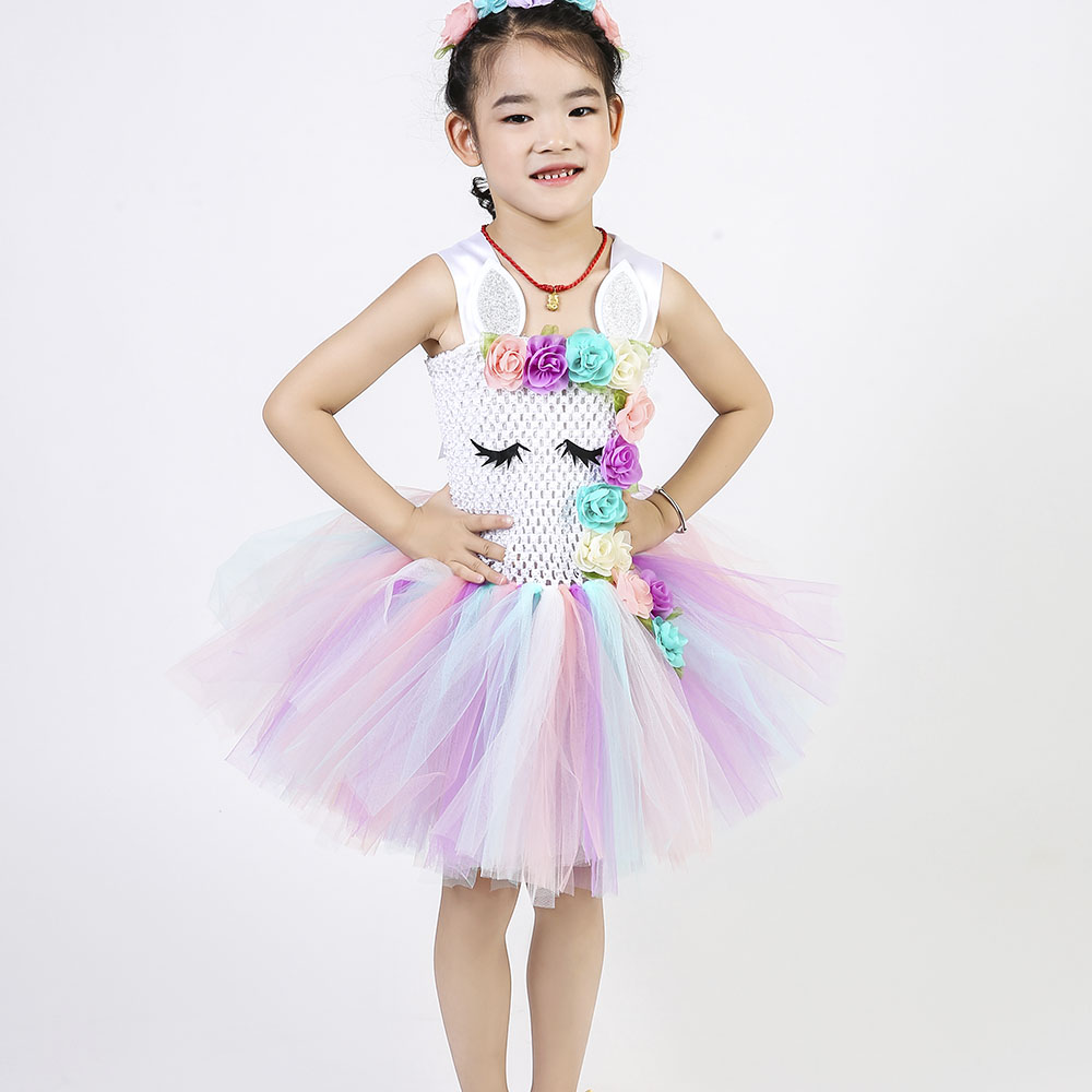 Pastel Unicorn Tutu Dress Baby Kids Girls Flowers Birthday Masquerade Party  Dresses Child Purim Day Halloween. sku  32887169328 a4a1d8f9268e