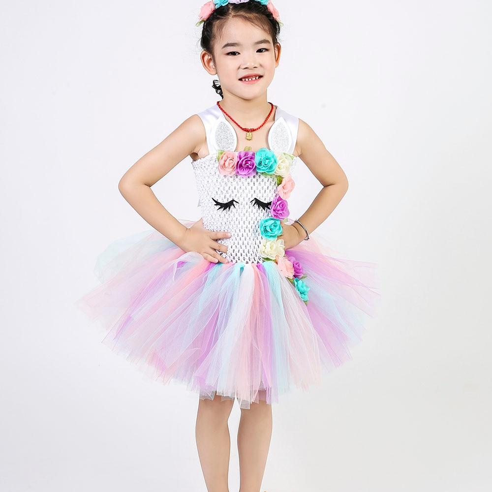 Pastel Unicorn Tutu Dress Baby Kids Girls Flowers Birthday Masquerade Party Dresses Child Purim Day Halloween Christmas Costume #5