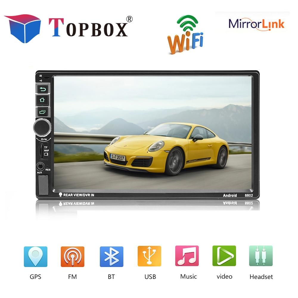 Topbox 2din autoradio Android GPS Bluetooth Auto Radio voiture stéréo multimédia MP5 lecteur Support caméra de recul Mirrorlink