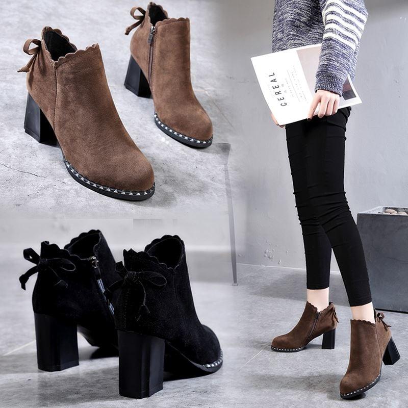 2019Women Boots Mature Lady Elastic Band Flock Soft Leather Lady Shoes Platform Solid -1835