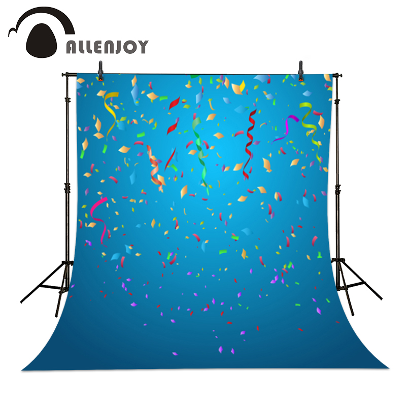 Allenjoy Colorful confetti on blue background baby birthday party vinyl Backdrops for Photography studio Personal customization allenjoy studio photo background vintage colorful flags birthday blue floor photocall vinyl backdrops for photography