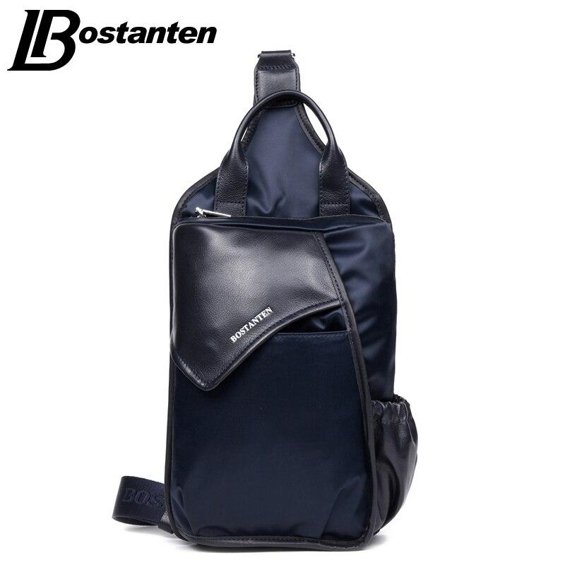 BOSTNATEN Canvas Man Casual Messenger Bag Patchwork Men Shoulder Bag Chest Pack Bag Crossbody Sling Bag For Ipad