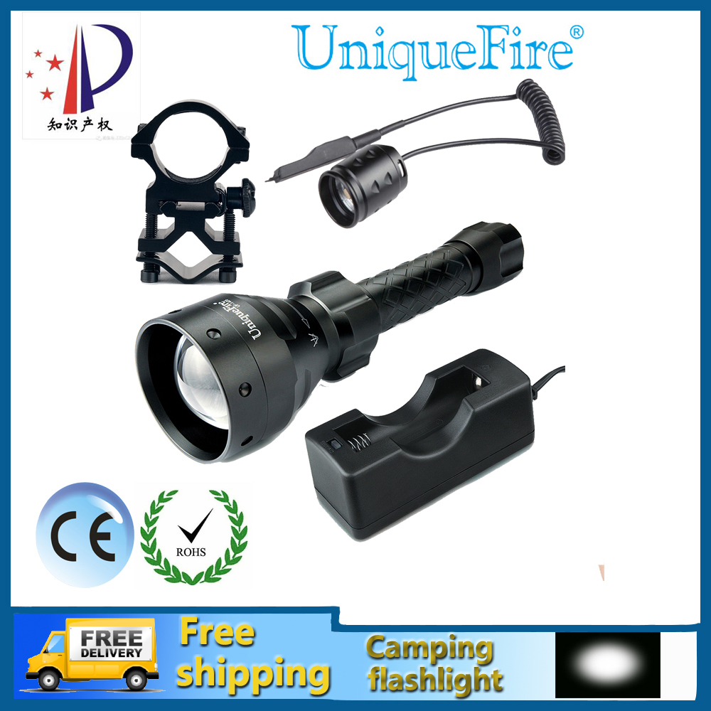 ФОТО Uniquefire UF-1405-XM-L LED Torch Zoomable 5 Modes 10W Balck Body Waterproof&Bicycle Flashlight+Rat Tail+Gun Mount+Charger