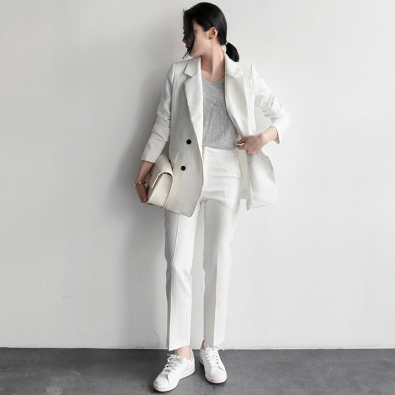 2019 Work Fashion Pant Suits Women 2 Piece Set Double Breasted Striped Blazer Jacket  Trouser Office Lady Suit