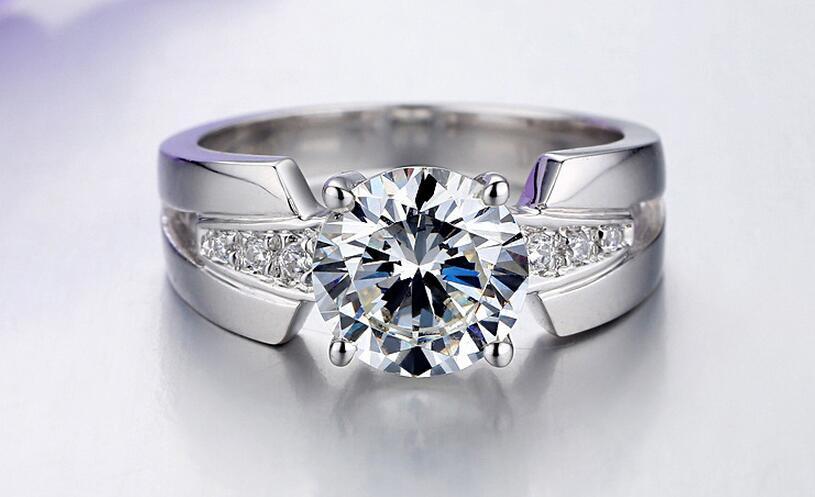 Argent pur 1.5 Carat argent haut carbone bras large mariage S925 bagues de mode bijoux pour femmes (JSA) - 2