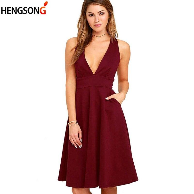 Fashion Women Dress 2018 Summer Sleeveless  A-Line Dress Back Zipper Solid Lady Deep V-Neck Pocket High Waist Club Party Dress