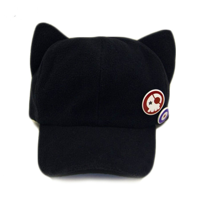 black cat ear baseball cap winter women neon genesis ngelion polar fleece hat ebay