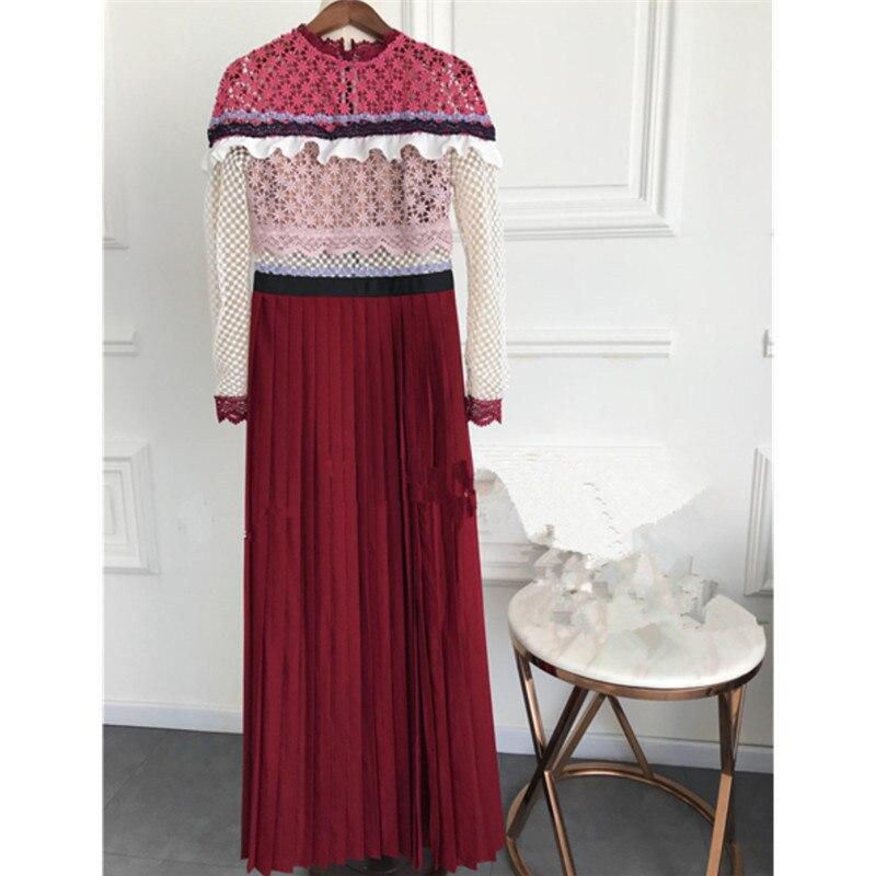 Maxi Robes Fleur Dentelle Marque Printemps Split Femmes Hanzangl Rouge Broderie Robe 2018 Parti Long Vintage Piste DHYW2E9I