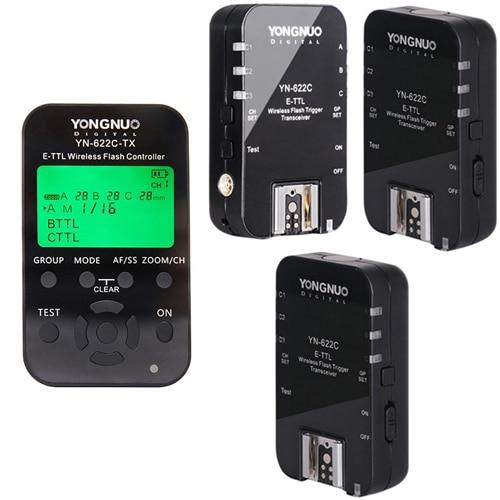 Yongnuo 1 x YN 622C TX + 3 x YN 622C RX E TTL LCD Wireless Flash Controller Wireless Flash Trigger Transceiver For Canon EOS DSL