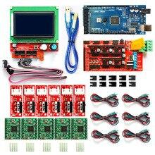 CNC Kit imprimante 3D pour Arduino Mega 2560 R3 + rampes 1.4 contrôleur + LCD 12864 + 6 fin de course butée finale + 5 A4988 pilote pas à pas