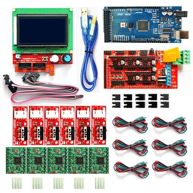 Kit de impresora 3D CNC para Arduino Mega 2560 R3 + controlador rampas 1,4 + LCD 12864 + 6 interruptor de límite Endstop + 5 controlador paso a paso A4988