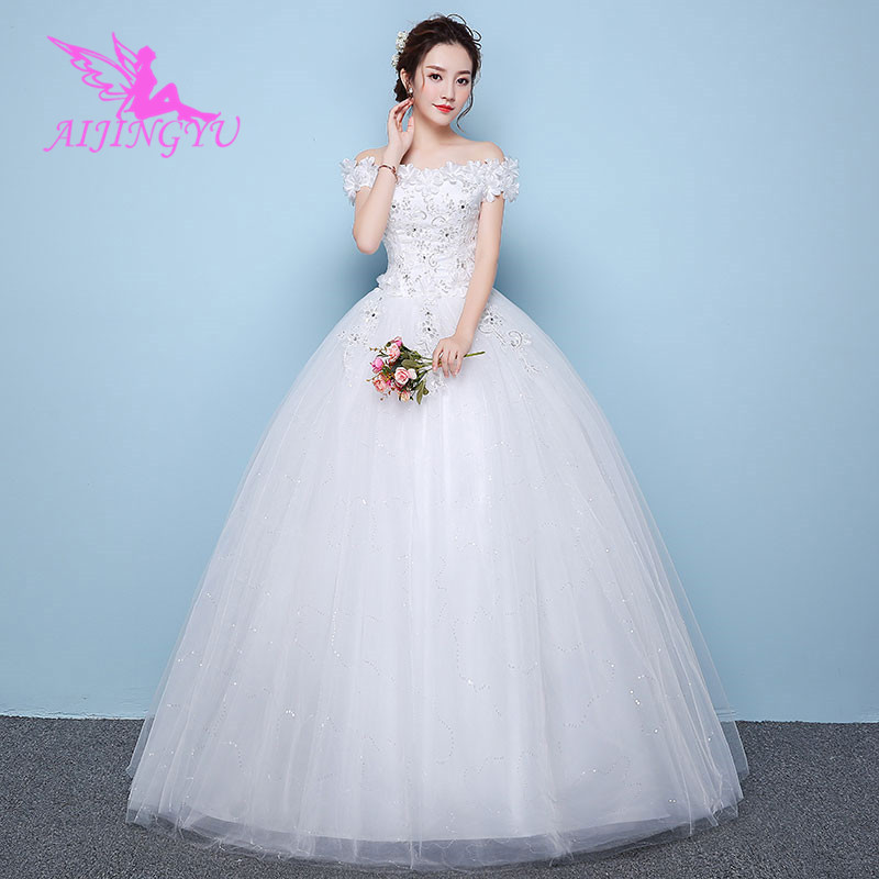 AIJINGYU 2018 Gowns Free Shipping New Hot Selling Cheap Ball Gown Lace Up Back Formal Bride Dresses Wedding Dress WK461