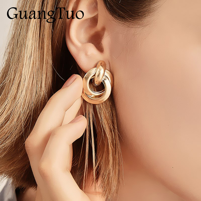 EK2202 New Trendy Gold Twisted Small Stud Earrings Metal Statement Earring Prisoner Classic Minimalist Beautiful Jewelry