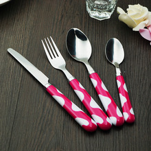 Popular pink plastic spoon fork tableware pretty bubble pattern handle stainless steel kid dinenrware set free shipping