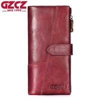 GZCZ Genuine Leather Women Wallet Female Portomonee Long Walet Woman Fashion Large Capacity Lady Clutch Hasp