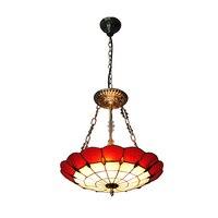 European Retro Red & White Shade Pendant Lamp Modern Tiffany Style Uplighter Hanging Light Restaurant Living Room Fixtures PL744