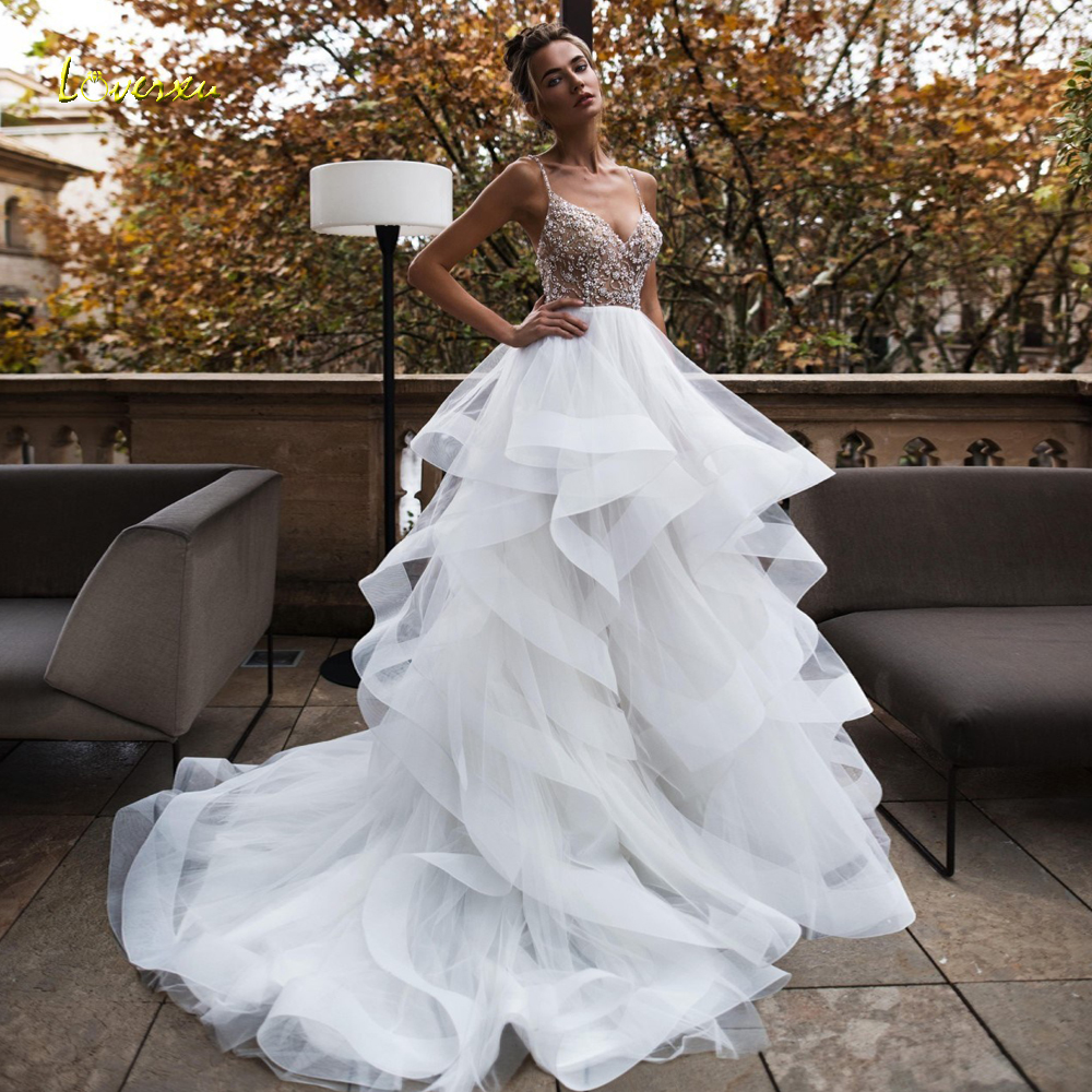 30053efb03933 Loverxu Sexy Backless Sweetheart Ruffles A Line Wedding Dresses 2019 Beaded  Crystal Court Train Tiered Tulle A Line Bridal Gowns ~ Free Delivery July  2019