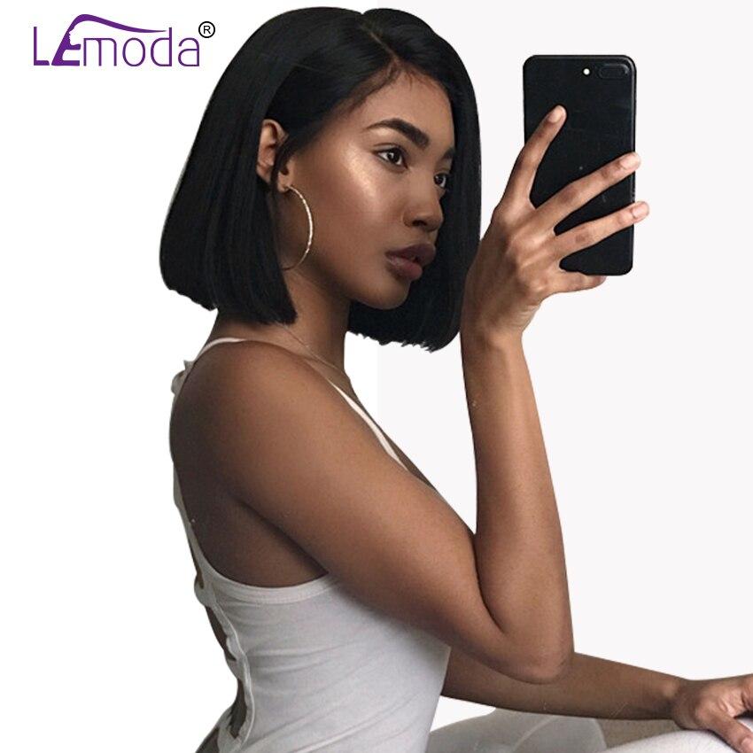 Parte Dianteira do laço Perucas de Cabelo Humano Brasileiro Cabelo Liso Curto Bob Peruca Com Pré Arrancadas Linha Fina Lace Wig Para As Mulheres Negras cabelo Remy
