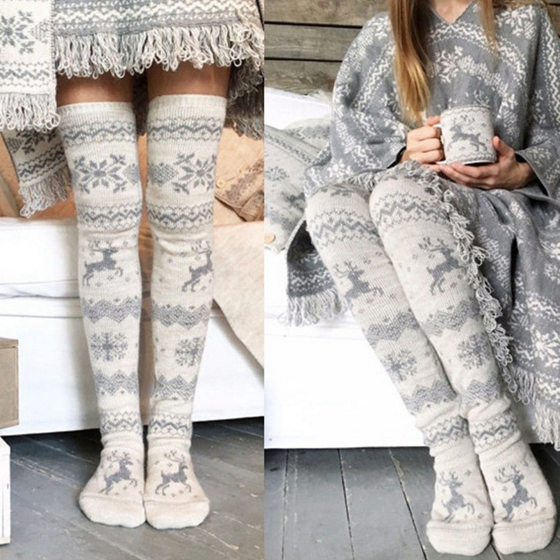 Newly Arrival Warm Winter Elasticity Comfortable Women Christmas Thigh High Long Stockings Knit Over Knee Socks