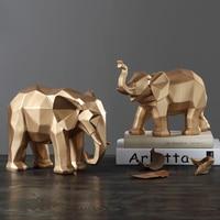 Геометрическая модель слона Декор Украшение с животными Смола украшения домашнее настольное украшение животное счастливый лучший подарок