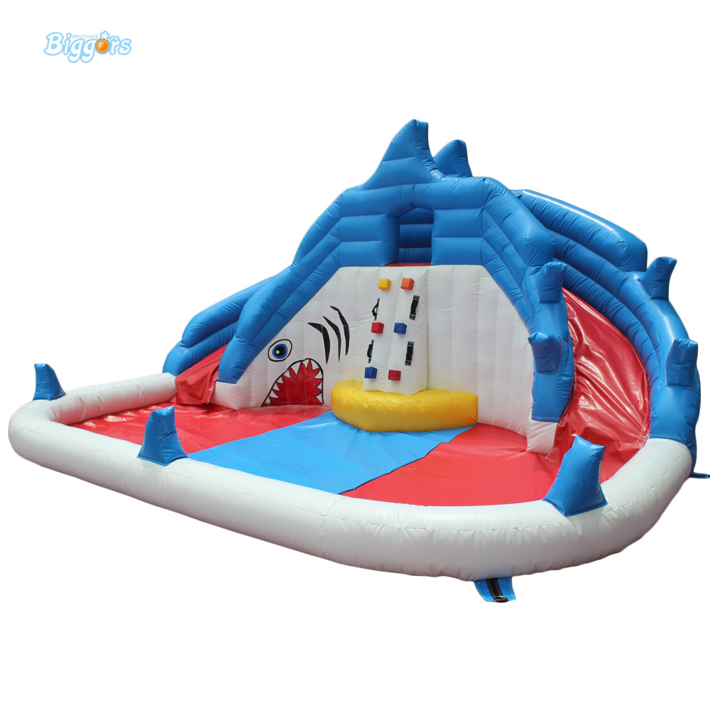 DHL Free Shipping Inflatable Bouncer Cute Sharks Jumper with Long Slide with Blower for Kids  цены