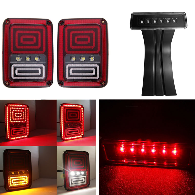 LED Taillight Assembly Reverse Brake Tail Lights and Smoke 3rd led Brake Light Replacement for Jeep Wrangler JK 07-16 car taillight spare tire led third brake light spare tire cover red warning light for jeep wrangler jk accessories 2007 2017