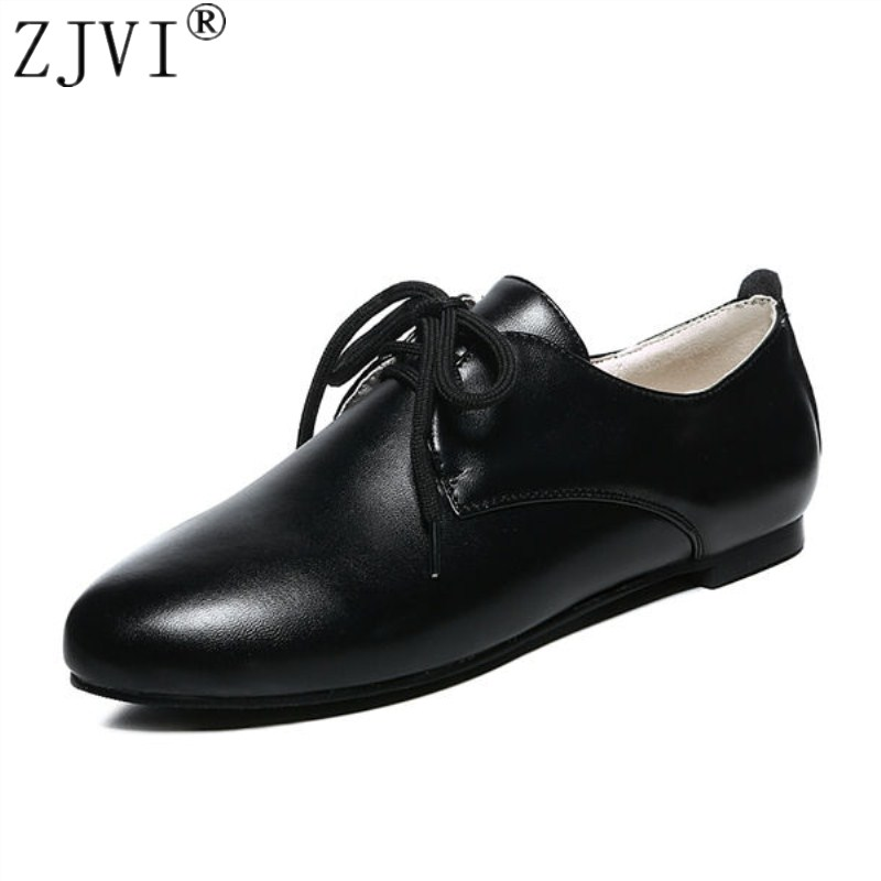 ZJVI Women pointed toe flats 2018 spring summer lace up flat shoes for woman women's work shoes ladies casual black shoes meotina women flat shoes ankle strap flats pointed toe ballet shoes two piece ladies flats beading causal shoes beige size 34 43