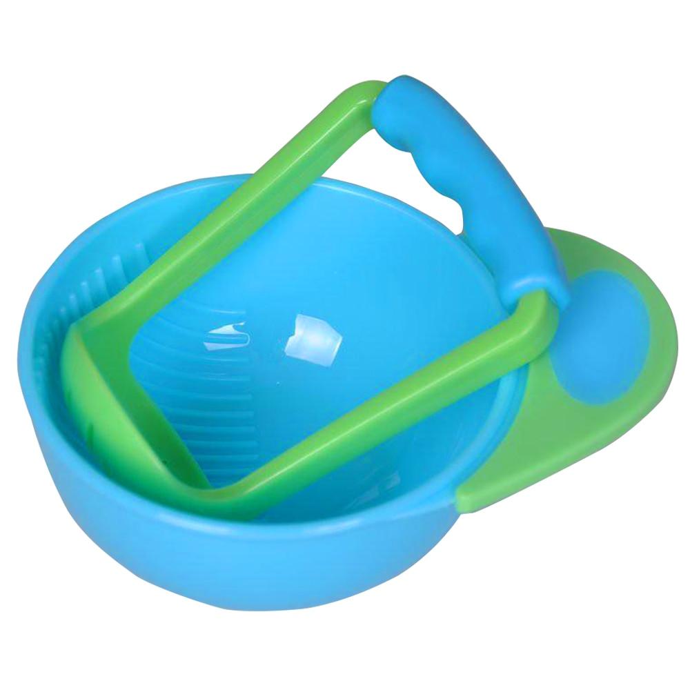 Детские Обучающие блюда, шлифовальная чаша, шлифовальная пищевая добавка, круглый синий+ зеленый ПП, многоцветная каша, фрукты, овощи, здоровый ребенок - Цвет: blue green