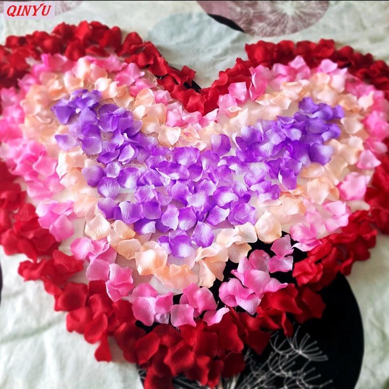 1000pcs Fake Rose Petals Flower Girl Toss Silk Petal
