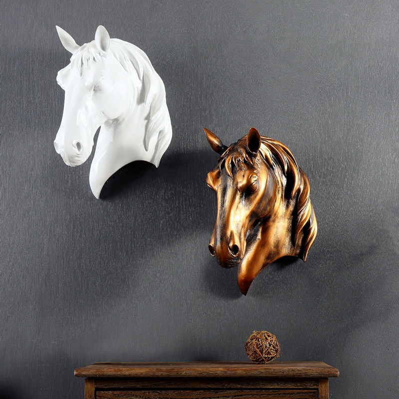 Retro Horse 3d Head Creative Resin Animal Head Horse Wall Decoration