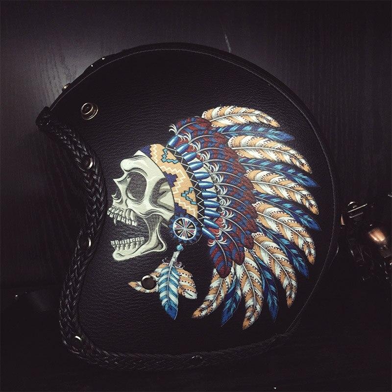 VCOROS череп маска из искусственной кожи moto rcycle шлемы Винтаж 3/4 открытый лицо Ретро шлем, закрывающий половину лица головной убор для езды на скутере moto Dot утвержден - 3