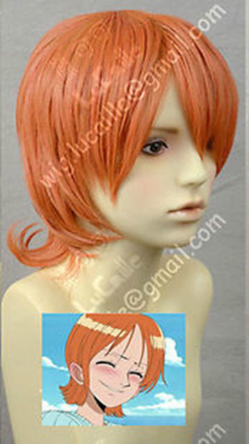 One Piece / Nami Cosplay Party Short Orange gold Wigs Hair >>Party cosplays heat resistant free shipping
