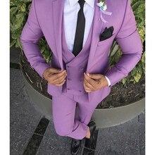 3 Pieces Sets Slim Suits Wedding Party Blazers Jacke Mens Business Groomsman Suit Pants Vest +