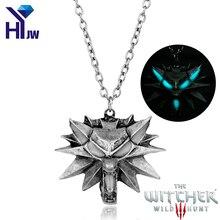 The Witcher 3 Wild Hunt Wolf Necklace Pendant Game Of Thrones Stark Twilight Werewolf Necklace GLOW in the DARK Night Luminous