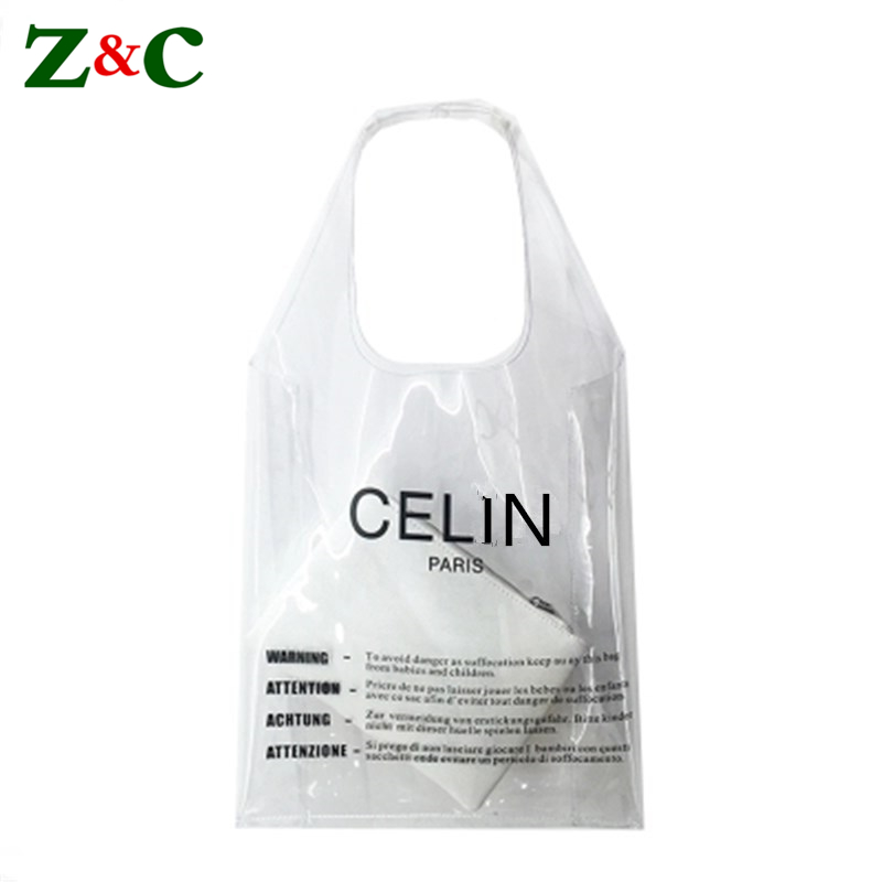 Luxury Brand Letter Logo Clear PVC Tote Bag Women Transparent Beach Bags Girls Summer Shopping Bag Fashion Handbags Sac A Main