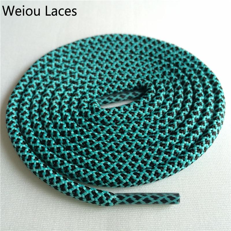 Weiou новые яркие цвета для пеших прогулок, двухцветные шнурки, сменные шнурки для обуви, круглые шнурки для баскетбола 750 - Цвет: 31Black Light Green
