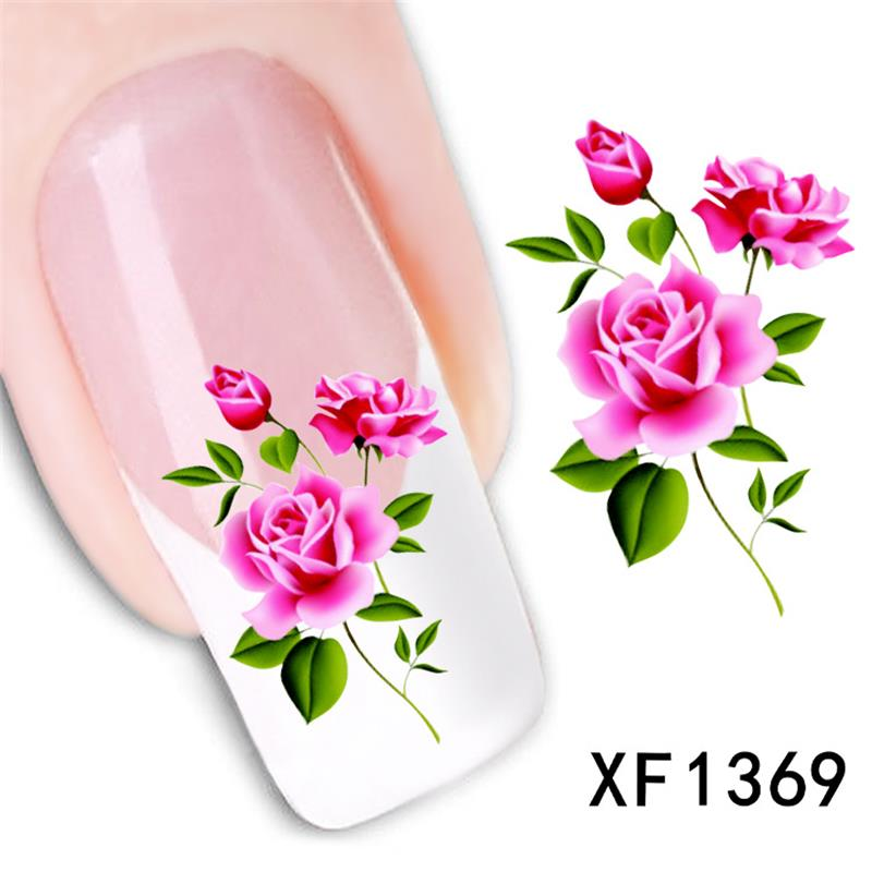 rose design Water Transfer Nails Art Sticker decals lady women manicure tools Nail Wraps Decals wholesale k5708b water transfer nails art sticker pink red rose flowers design nail sticker manicure decor tools cover nail wraps decals