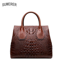 2019 Women Genuine Leather bags fashion luxury handbags women bags designer big bag Crocodile embossing women leather handbags