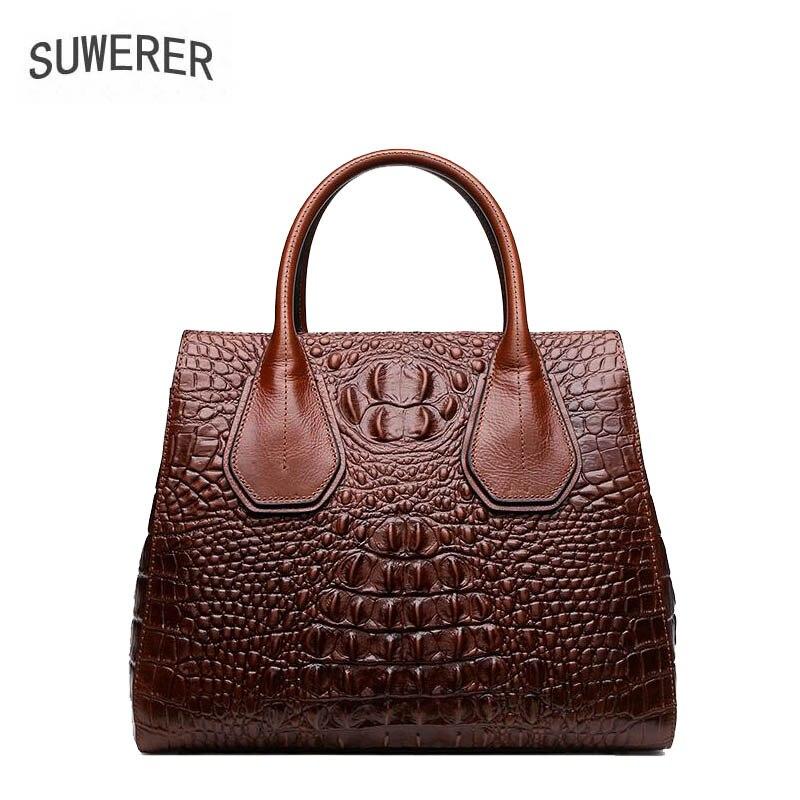 red Handtaschen Frauen Aus 2019 Mode Präge Große Designer Taschen Luxus Tasche green Leder Echtem Krokodil brown Black ZF0B0w
