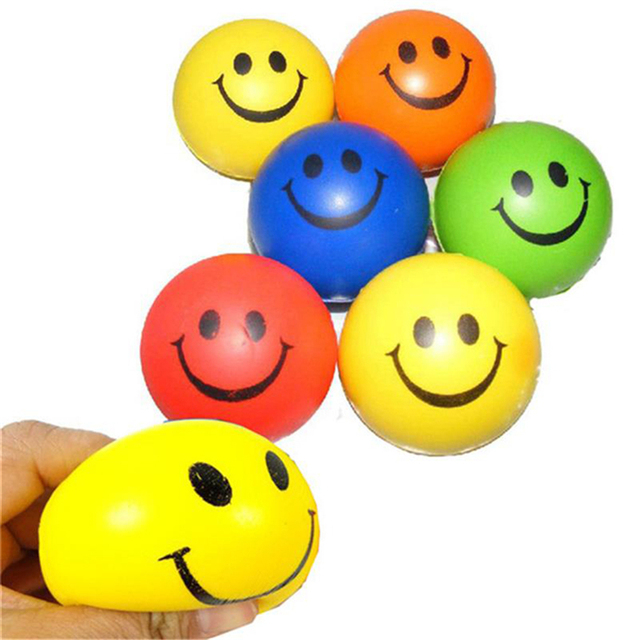 Abbyfrank 6Pcs/Set Antistress Ball Smile Face Print Soft PU Rubber Bouncy Toy Squeeze Ball Hand Wrist Exercise Stress Relief
