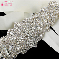 Bridal Belt 2018 Crystal with Ribbons Formal Dress Accessories abiti da cerimonia da sera Dresses Rhinestone ZA011