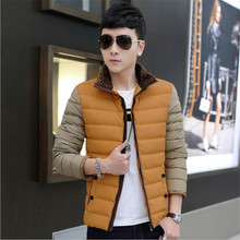 2017  New men's winter coat down 100% cotton Slim casual men's jacket thick jacket tide Suitable for teenagers