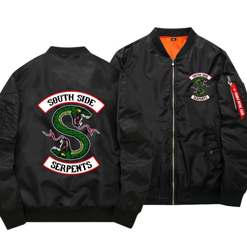 США ЕС Размеры зима толстые ривердейл Для мужчин MA1 куртки-бомберы военный Jaqueta Masculina Повседневное с длинными рукавами и принтом Flight Jacket
