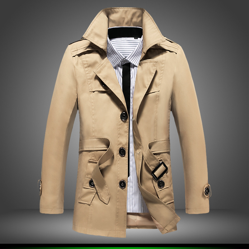 XMY3DWX fashion male High-grade pure cotton Single-breasted trench coat/Men hooded slim Fit Leisure long jacket Large size 4XL