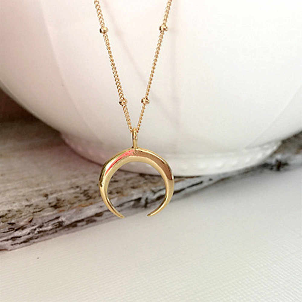 IPARAM Statement Gold Horn Necklace, maxi Long Crescent Moon Necklace,Double Horn Necklace For Women Charm Jewelry