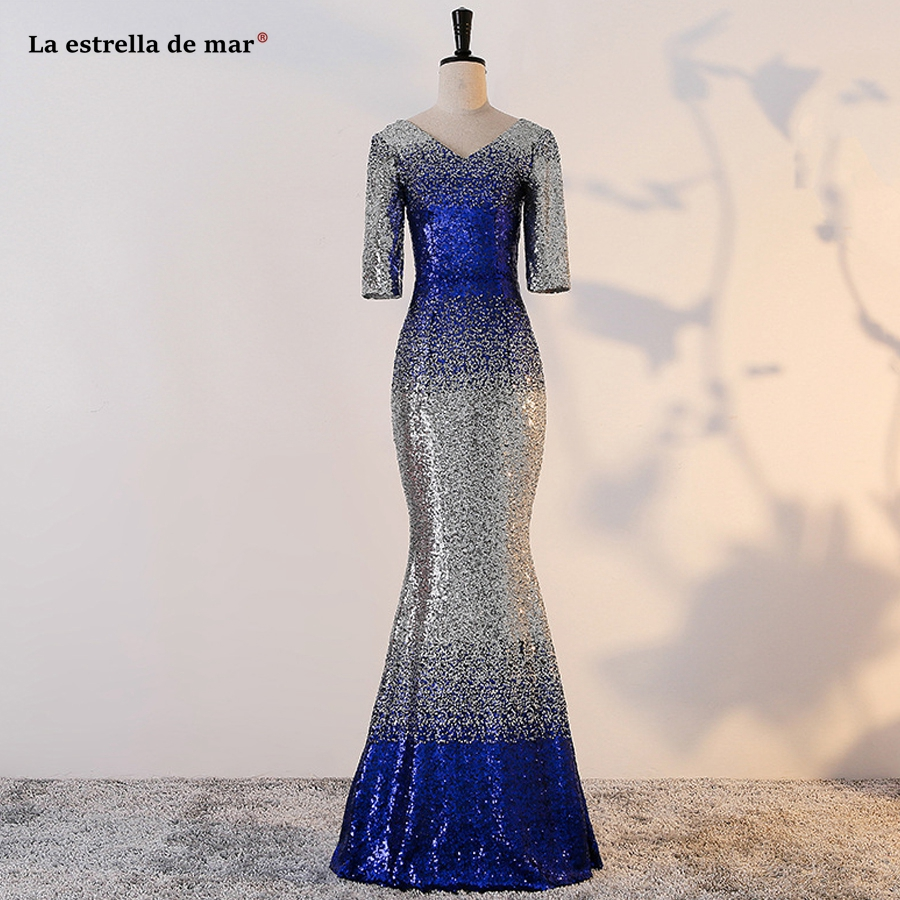 robe demoiselle d'honneur pour femme 2019 new V neck Half sleeve sexy mermaid royal blue silver   bridesmaid     dress   long plus size