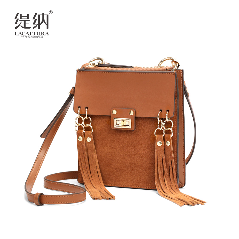 T0020 2017 New famous brand designer women mini Tassel bags flaps cow Leather Chain shoulder messenger bag flap handbag bolsas