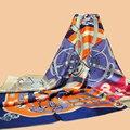 "Huajun || brand new scarf ""Caval d'Or"" 140 large silk scarf 100% mulberry silk twill scarf shawl"